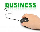 Hand with computer mouse and word Business - business concept