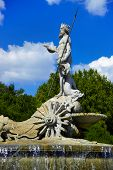 The fountain of Neptune in Madrid, Spain - architecture background