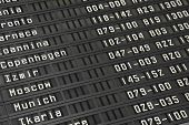 Flight information board in airport terminal - travel background