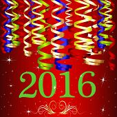 2016 Ribbon New Year With Red Background
