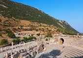 Ancient amphitheater in Ephesus Turkey - archeology background