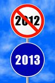 Round sign 2013 - New Year concept, sky on background