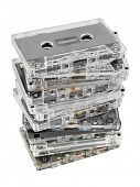 Stack of audio cassettes isolated on white background