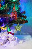 Christmas fir with decoration and presents