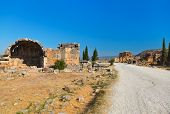 Old ruins at Pamukkale Turkey - architecture background