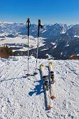 Mountains skis and ski-sticks - St. Gilgen Austria - nature and sport background