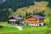 Beautiful Typical Mountain Guests Houses On Austrian Alps