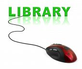 Computer mouse and word Library - internet concept