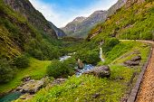 Railroad in Flam - Norway - nature and travel background