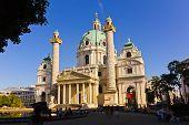 The Karlskirche (St. Charles's Church) - Vienna (Wein) Austria at sunset