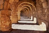 Galery at Aspendos in Antalya, Turkey - archaeology background