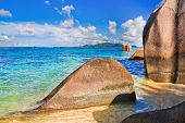 Stones on tropical beach at Seychelles - nature background