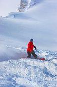 Skier at mountains ski resort Kaprun Austria - nature and sport background
