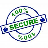 Hundred Percent Secure Indicates Login Protect And Secured