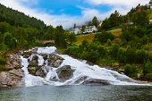 Waterfall in Norway - nature and travel background