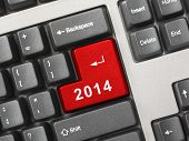 Computer keyboard with 2014 key - holiday concept