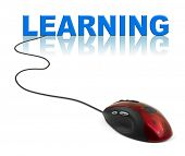 Computer mouse and word Learning - education concept