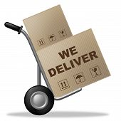 We Deliver Indicates Shipping Box And Cardboard