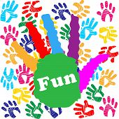 Kids Fun Means Vibrant Handprints And Human