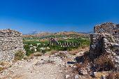 Aqueduct at Aspendos in Antalya Turkey - archaeology background