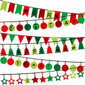 Decorative Bunting With Merry Christmas And Happy New Year 2015