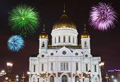 Fireworks over cathedral of Christ the Savior in Moscow (Russia)