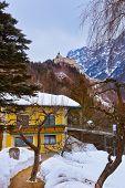 Village and castle Werfen near Salzburg Austria - architecture and nature background