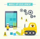 Flat style vector illustration concept of mobile app development