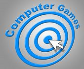 Computer Games Represents Www Online And Pc