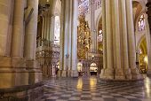 Interior of Saint Mary Cathedral in Toledo Spain - religion architecture background