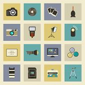 Photo Equipment Flat Icons Set