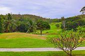 Golf field at island Praslin Seychelles - sport background