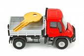 Toy car truck with key isolated on white background