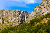Waterfall in Flam - Norway - nature and travel background