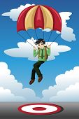 Businessman With A Parachute Landing On A Target