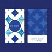 Vector blue marble tiles vertical round frame pattern business cards set