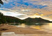 Tropical sunset at Seychelles - nature background