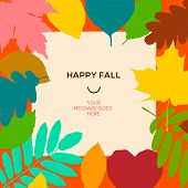 Happy fall template with autumn leaves and simple text
