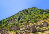 Ruins of old town in Mystras, Greece - archaeology background