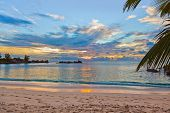 Seychelles tropical beach at sunset - nature background