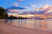 Cafe on Seychelles tropical beach at sunset - nature background