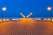 Wooden pier at Baltic sea in Gdynia Orlowo, Poland