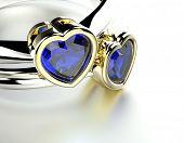 Weddingt Ring with Diamond heart shape. Fashion Jewelry background
