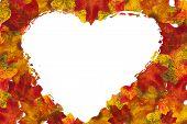 Autumn Leaf Heart Background