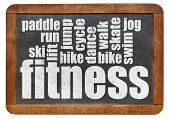 fitness word cloud on a vintage slate blackboard isolated on white