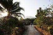 Backpacker woman leaving a jungle resort in Khao Sok, Thailand