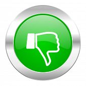 dislike green circle chrome web icon isolated