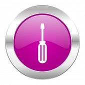 tools violet circle chrome web icon isolated