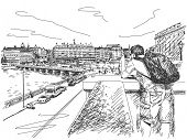 October 18, 2014 - Tourist taking photo of Stockholm city centre from Royal Palace, Sweden. Hand drawn vector illustration