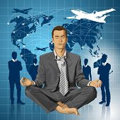 Relax travel concept. Vector businessman in lotus pose meditating